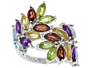 Multi-color gemstone rhodium over silver ring 4.60ctw