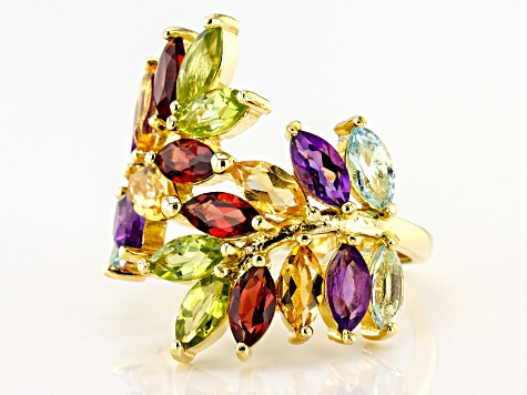 Mixed-color gemstone 18k gold over silver ring 4.60ctw