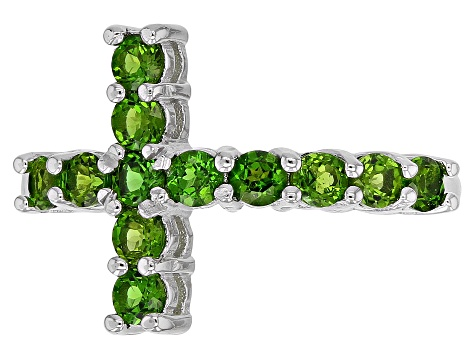 Green chrome diopside rhodium over silver ring .72ctw