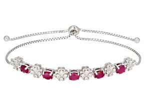 Red ruby rhodium over silver bracelet 2.32ctw