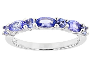 Blue tanzanite rhodium over silver band ring .93ctw