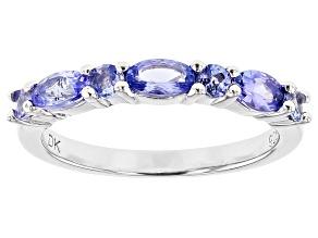 Blue tanzanite rhodium over silver band ring .93ctw