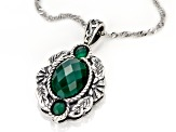 Green Onyx Silver Pendant with Chain