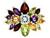 Multi-Color Gemstone 18k Yellow Gold Over Sterling Silver Ring 4.36ctw