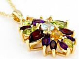 Multi-color gemstone 18k yellow gold over silver pendant with chain 4.36ctw