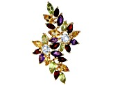 Multi-color gemstone 18k gold over silver ring 4.95ctw