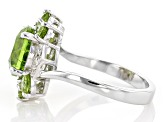 Green peridot rhodium over silver ring 3.49ctw