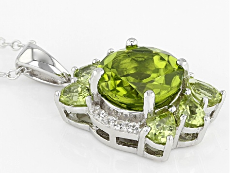 Green peridot rhodium over silver pendant with chain 3.49ctw