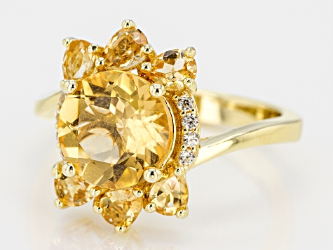 Yellow golden citrine 18k gold over silver ring 3.31ctw
