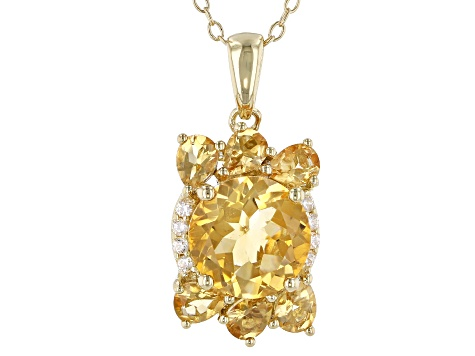 Yellow golden citrine 18k gold over silver pendant with chain 3.31ctw