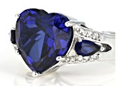 Blue lab created sapphire rhodium over silver ring 5.28ctw