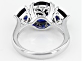 Blue lab created sapphire rhodium over silver ring 4.45ctw