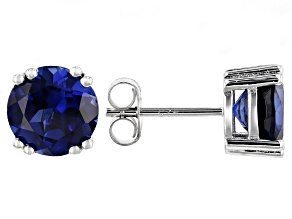 Blue lab created sapphire rhodium over silver earrings 3.83ctw