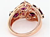Raspberry Color Rhodolite 18k Gold Over Sterling Silver Ring 4.47ctw