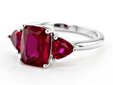 Red lab created ruby rhodium over silver ring 2.53ctw