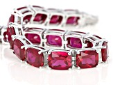 Red Lab Created Ruby Rhodium Over Silver Bracelet 34.28ctw
