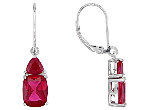 Red Lab Created Ruby Rhodium Over Silver Earrings 5.60ctw