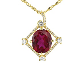 Red lab created ruby 18k gold over silver pendant with chain 6.03ctw