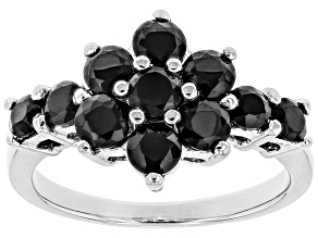 Black spinel rhodium over silver ring 1.87ctw