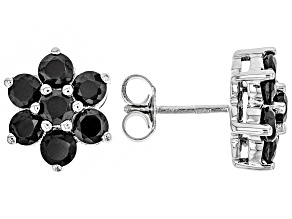 Black spinel rhodium over silver stud earrings 2.94ctw