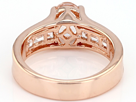 Pink morganite 18k rose gold over sterling silver ring 1.37ctw
