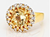 Yellow citrine 18k gold over silver ring 3.56ctw