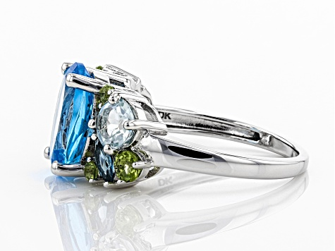 Blue topaz rhodium over silver ring 5.55ctw