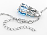 Blue topaz rhodium over silver pendant with chain 4.61ctw