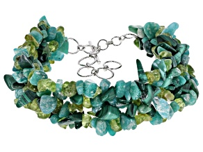 Green multi-gemstone sterling silver bracelet