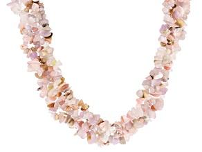 Pink multi-gemstone sterling silver necklace