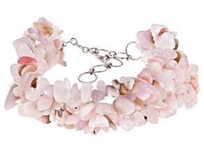 Pink multi-gemstone sterling silver bracelet