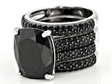 Black spinel rhodium over silver 3 ring set 11.16ctw