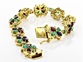 Multi-gem 18k yellow gold over silver bracelet 11.43ctw
