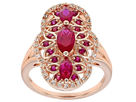 Red lab created ruby 18k rose gold over silver ring 1.39ctw