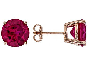 Pink lab sapphire 18k rose gold over silver earrings