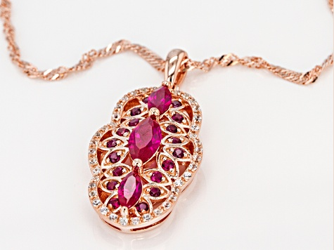 Red lab created ruby 18k rose gold over silver pendant with chain 1.39ctw