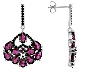 Raspberry Color Rhodolite Rhodium Over Silver Earrings 7.74ctw