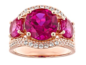 Pink lab created sapphire 18k gold over silver ring 5.85ctw