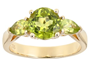 Green peridot 18k gold over silver ring 2.60ctw