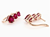 Red lab created ruby 18k rose gold over silver earrings 5.22ctw