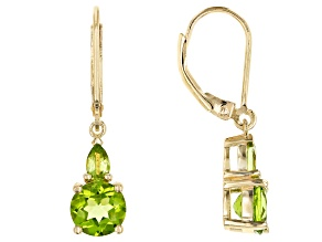Green peridot 18k gold over silver dangle earrings 3.03ctw