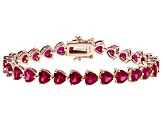 Red lab created ruby 18k rose gold over silver bracelet 22.34ctw