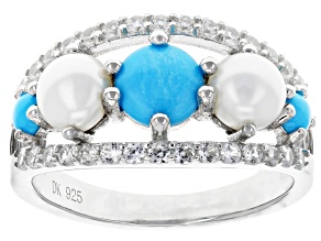 Blue turquoise rhodium over silver ring .51ctw