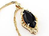 Black spinel 18k yellow gold over silver pendant with chain 3.83ct