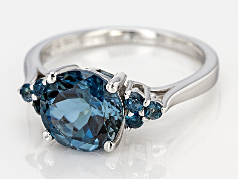 Blue topaz rhodium over silver ring 3.01ctw
