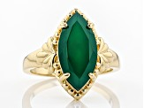 Green onyx 18k yellow gold over silver ring