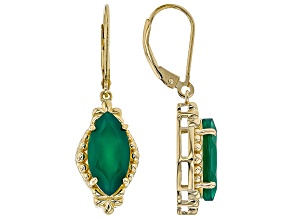 Green onyx 18k gold over silver earrings