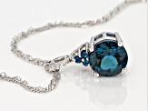 Blue topaz rhodium over silver pendant with chain 2.93ctw