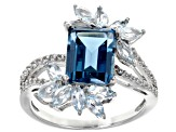 London Blue Topaz Rhodium Over Silver Ring 3.67ctw