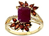 Red Garnet 18k Gold Over Silver Ring 3.07ctw